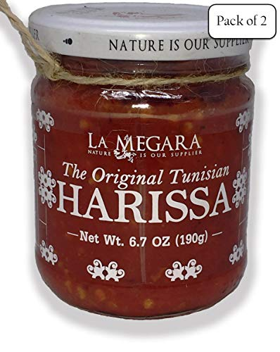 The Original Tunisian Spicy Harissa Paste With Fresh Peppers, Herbs & Spices, 6.7 oz Jar (Pack of 2)