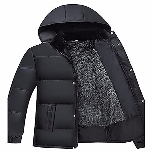 ZHUDJ Men'S Regular Padded Coat,Simple Casual/Daily Solid-Cotton Polyester Long Sleeves Black