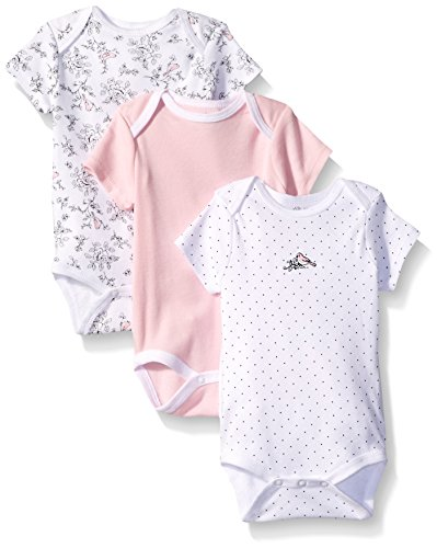 Little Me Baby Bird Toile 3 Pack Bodysuit, White/Multi, 3 Months