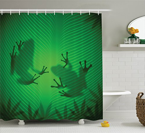 Animal Decor Shower Curtain Set, Frog Shadow Silhouette on The Banana Tree Leaf in Tropical Lands Jungle Light Games Graphic, Bathroom Accessories, 75 Inches Long, Shades of Green