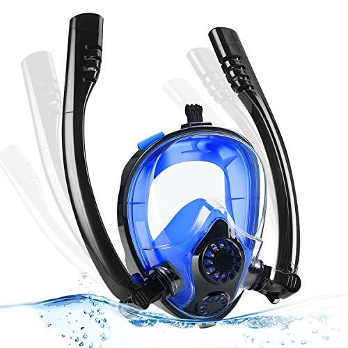 Pellor Seaview 180°K2 Full Face Snorkel Mask,Advanced Breathing System Snorkeling Mask for Safe Snorkeling Anti Leak Anti Fog Diving Mask Dry Snorkel Set (Black/Blue, Large/Extra Large)