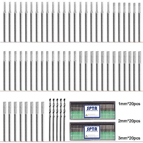 SPTA 60Pcs Diamond Drill Bit Burrs(20pcs 1mm, 20pcs 2mm, 20pcs 3mm) Diamond Grinding Head Mounted Burr Point Set with 5Pcs 3mm Twist Drill Bit For 1/8' Shank Rotary Tools Jade, Jewelry