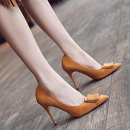 Xue Qiqi Satin Schuhe mit ultra-dünne Frau mit Licht - Matt Matt - wilde einzelne Schuhe schwarz Arbeitsschuhe, 36, zu fangen, Gelb [10] - dfdec1