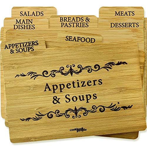 Recipe Box Dividers - Cookbook People 4x6 Recipe Cards and Wood Tab Dividers (4x6WoodDividers)