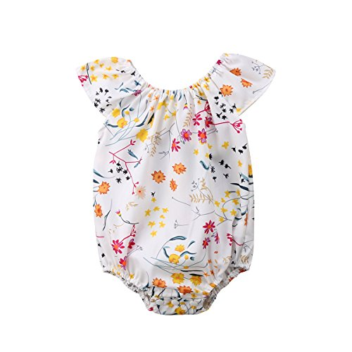 Emmababy Family Matching Set Baby Kids Girls Floral Romper Jumpsuit Little Sister Summer Dress Outfit (Baby Girl, 3-9Months) - Matching Toddler Outfits