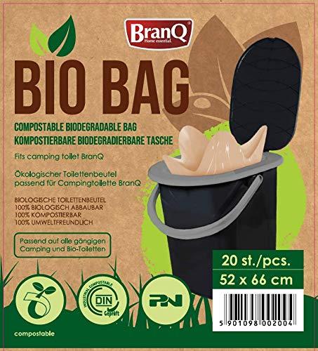 511HmOHtLXL BranQ - Home essential Unisex-Adult Toilettenbeutel Bio 20 Stück Limited Edition für Campingtoiletten, braun, 22 l