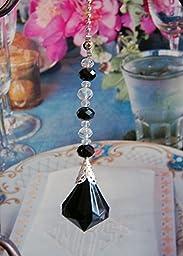 2 of Black Acrylic Crystal Diamond Ceiling Lighting Fan Pulls Chain