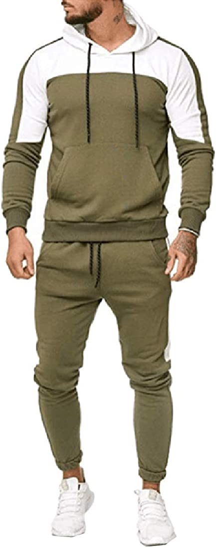 Tootless-Men 2-Piece Contrast Relaxed-Fit Athletic Fit Hood Tracksuit Set