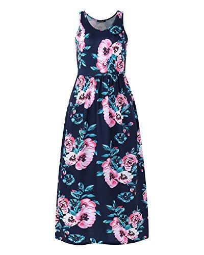 Vintage Longue Bleu1 Rode Manches ACHIOOWA Sans de Party Floral Cocktail Imprim Femme Plage Maxi Robe qE1OH
