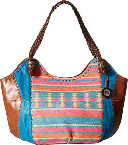 The Sak Women's Indio Satchel Aquatic Aztec (Embroidered Leather Hobo Bag)