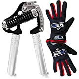 GD Iron GRIP EXT 90 Adjustable Hand Grip Strengthener (55 to 198 lb) along W/ MotoFit exercise grip gloves, perfect for Musicians Athletes and Hand Rehabilitation Exercising