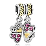 Fit Pandora Charms Mom Daughter Heart Love Four Leaf Clove Puzzle Charm Beads