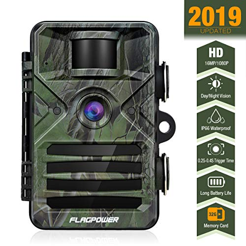 FLAGPOWER Trail Game Camera, Hunting Camera 940nm 44Pcs IR LEDs Night Vision Motion Activated 16MP 1080P Wildlife Camera with 2.4″ LCD and IP66 Waterproof for Wildlife Monitoring & Home Security