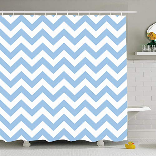 Ahawoso Shower Curtain 66x72 Inches Graphic Beige Arrows Chevron Zigzag Pattern Abstract Pink Aqua Blue Artistic Booking Bright Cream Waterproof Polyester Fabric Set with -
