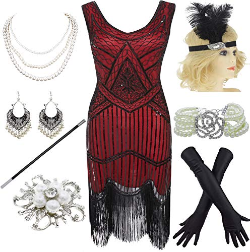 1920s Gatsby Sequin Fringed Paisley Flapper Dress with 20s Accessories Set (XXL, Black-Red) -