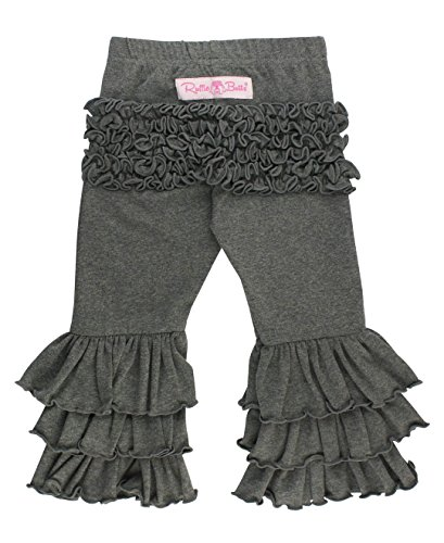 RuffleButts Baby/Toddler Girls Charcoal Gray Everyday Ruffle Pants - 6-12m (Baby Girl Clothing Boutique)