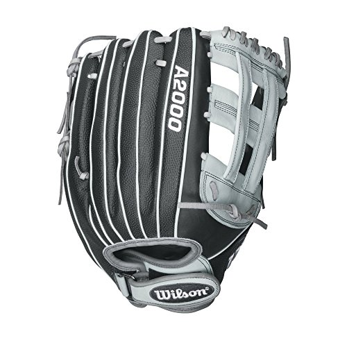 Wilson A2000 Superskin Fastpitch Softball Glove, Black Matte/Grey/White, Right Hand Throw, 12.75-Inch