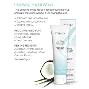 Kosmea Clarifying Facial Wash is a Gentle Foaming Cleanser For Sensitive, Dry or Acne Prone Skin - Contains Unique Australian Bush Ingredients, Davidson Plum, Lilly Pilly & More – 5.07 fl oz