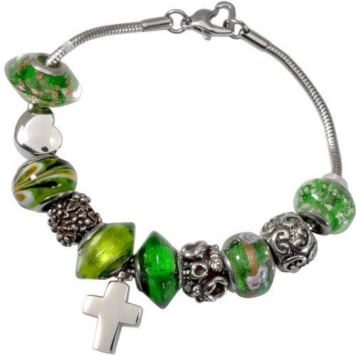 Memorial Gallery Emerald Green Remembrance Bead Pet Cross Urn Charm Bracelet, 7'' by Memorial Gallery