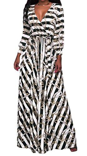 V Neck Striped Dress (Black) - 6