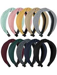 10 Knotted Headbands For Women Girl Soft Knitted Headbands For Women's Hair (10 Colors Set 1-yellow pink green coffee black dark gray red wine dark green navy blue light grey)