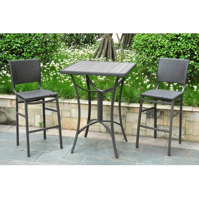 International Caravan Barcelona Resin Wicker Bar Height Bistro Set