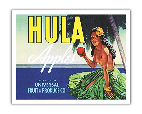Apple Crate Label Art - Pacifica Island Art Hula Brand Apples - Topless Hawaiian Girl holding Apple - Universal Fruit and Produce Co. - Vintage Fruit Crate Label c.1930s - Hawaiian Fine Art Print - 11in x 14in