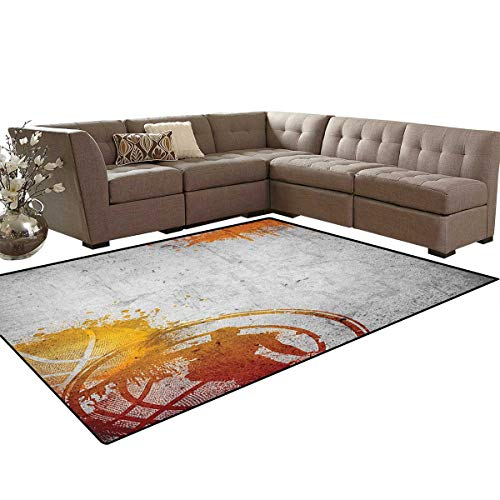 Concrete Walkway Paint (Basketball,Rug,Basketball Streetball and Paint Stains Image on Concrete Wall Rustic Print,Dining Room Home Bedroom Carpet Floor Mat,Charcoal Orange Size:6'6