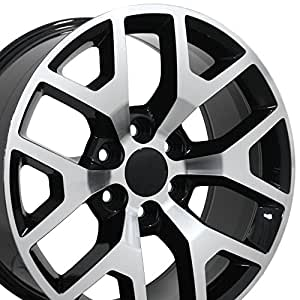 22x9 Wheel Fits GM Trucks & SUVs - GMC Sierra 1500 Style Black Rim w/Mach'd Face, Hollander 5656