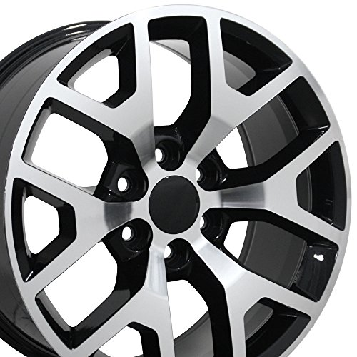 22x9 Wheel Fits GM Trucks & SUVs - GMC Sierra 1500 Style Black Rim w/Mach'd Face, Hollander 5656