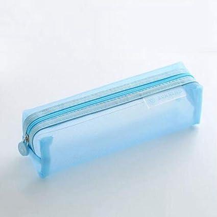 Estuches Cielo azul Kawaii Lindo Color Sólido Malla Transparente Estuche de lápices Escuela Material escolar Negro Bolso de la pluma Bolso de la pluma Papelería Bolsa de almacenamiento: Amazon.es: Oficina y papelería