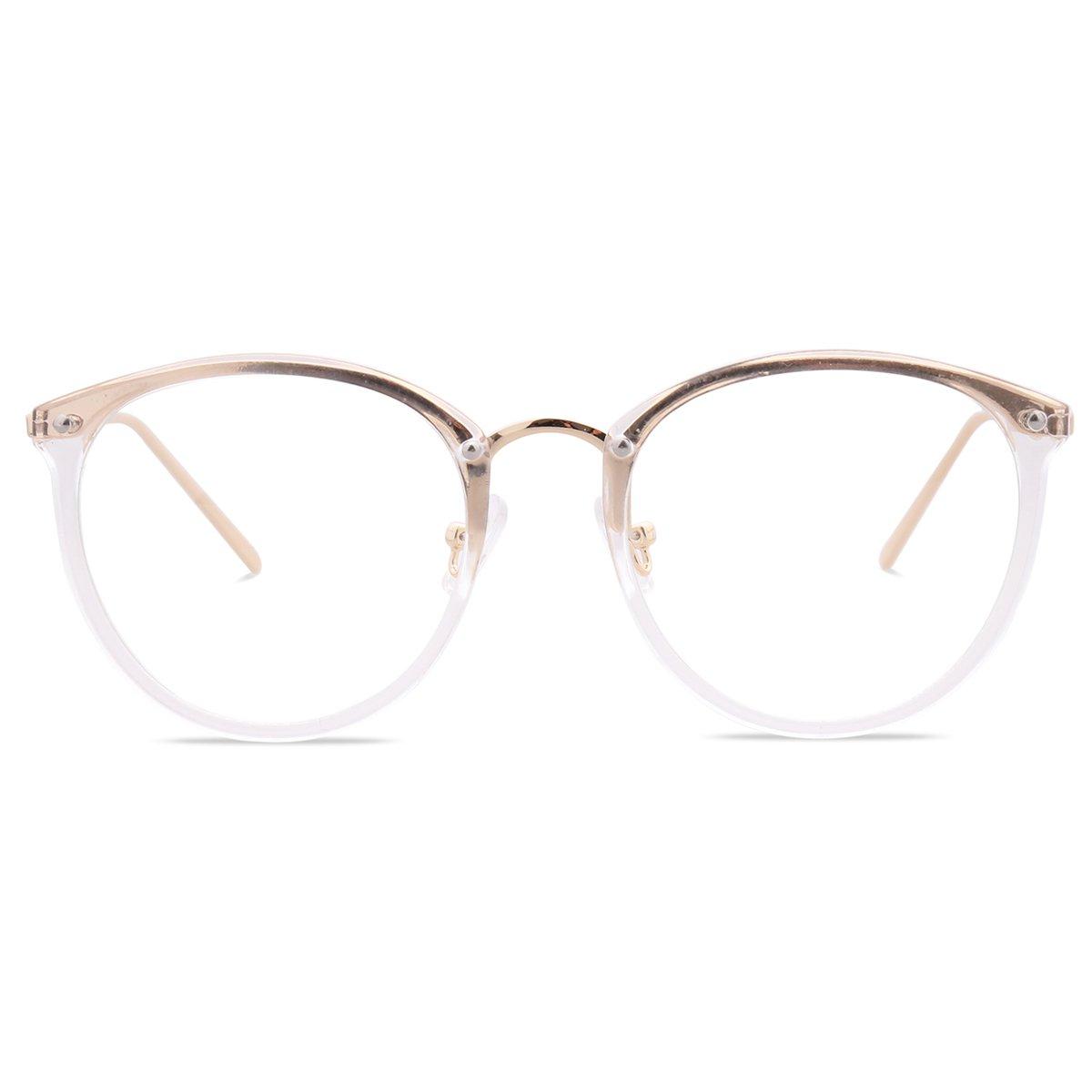 Amomoma Women's Fashion Round Eyeglasses Optical Frame Clear Lens Eyewear AM5001 (C7 Transparent/Gold, 50)