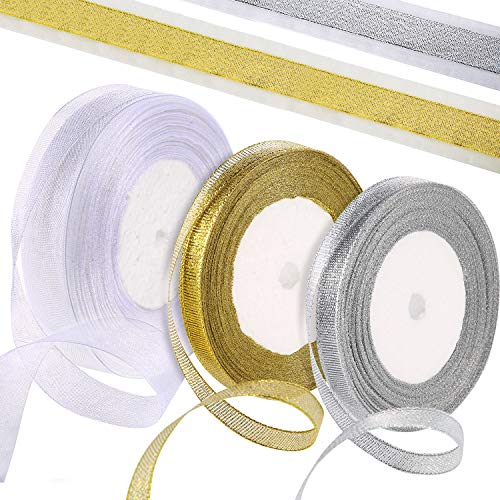 Pangda 97 Yard Organza Ribbon (White, Gold, Silver) for Gift Wrapping Party Decoration in Christmas, Birthday and Wedding (0.79 Inch, 0.39 Inch, 0.39 Inch) - Ribbon Ivory Organza
