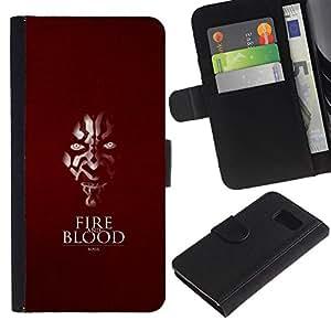 """A-type (Fuego y sangre"""") Colorida Impresión Funda Cuero Monedero Caja Bolsa Cubierta Caja Piel Card Slots Para Sony Xperia Z1 Compact / Z1 Mini (Not Z1) D5503"""
