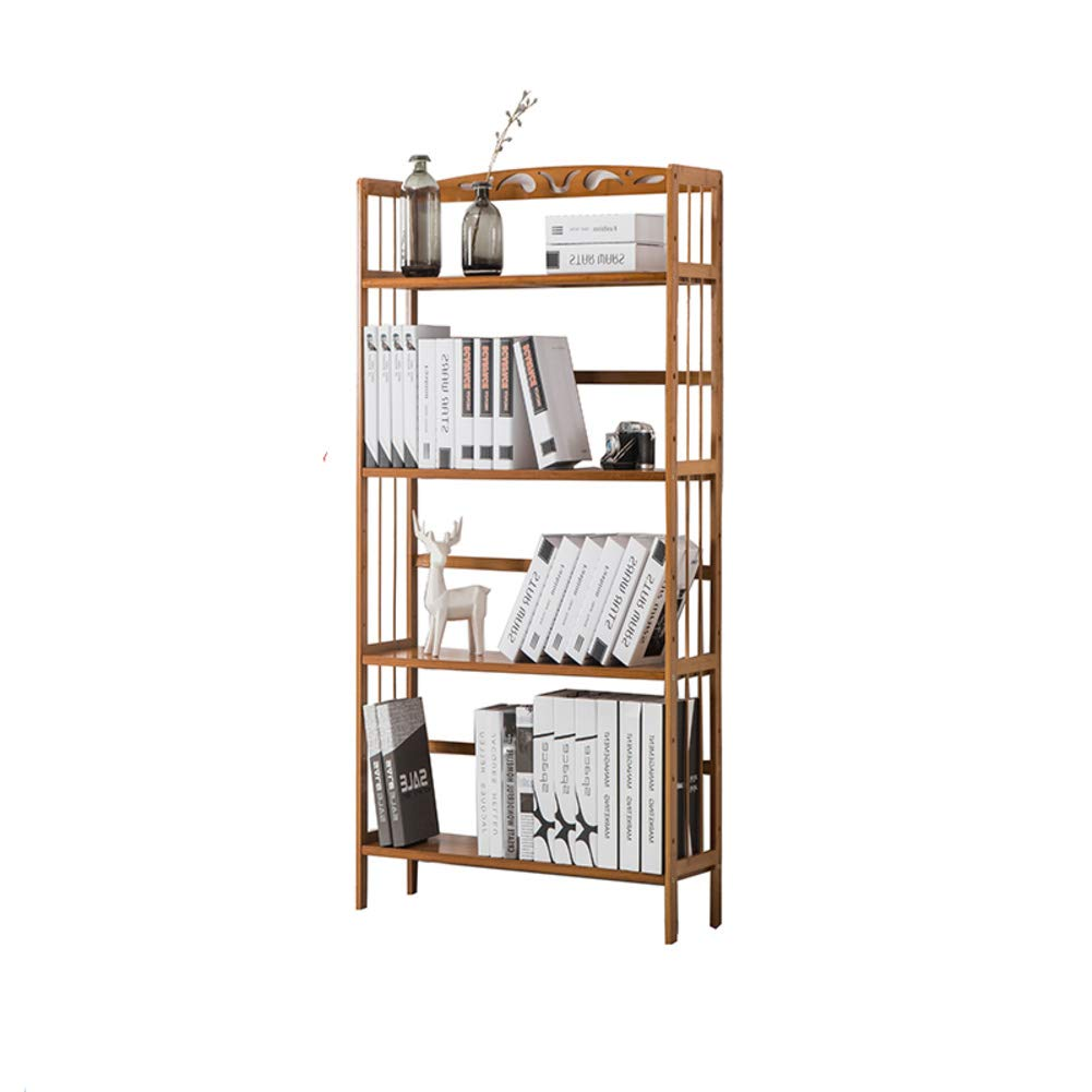 J 90X26X125cm Natural Bamboo Bookcase, Adjustable Simple Book Shelves Floor Modern Solid Wood Student Bookshelf for Kids Strong No Pressure Storage Rack-A 50X26X100cm
