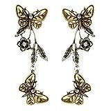 Himpokejg Woman's Fashion Vintage Butterfly Flower Leaf Dangle Drop Earrings Jewelry Xmas Gifts - Golden