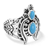.925 Sterling Silver Statement Ring with Naja Crescent Moon & Feathers (Sizes 5-10, Choice of Colors)