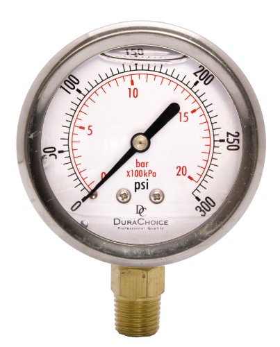 """2-1/2"""" Oil Filled Pressure Gauge - Stainless Steel Case, Brass, 1/4"""" NPT, Lower Mount Connection 0-300PSI"""