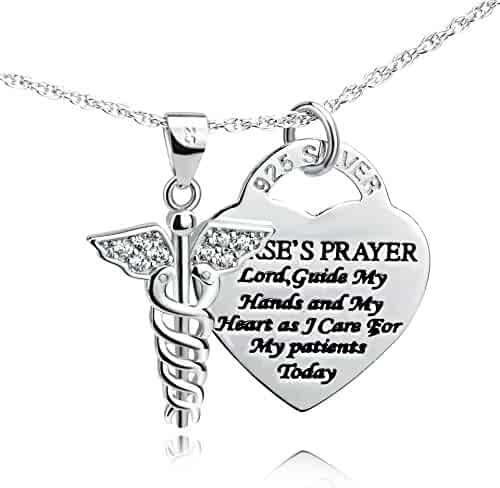 YFN 925 Sterling Silver Caduceus Angel Nursing Themed Pendant Necklace 18