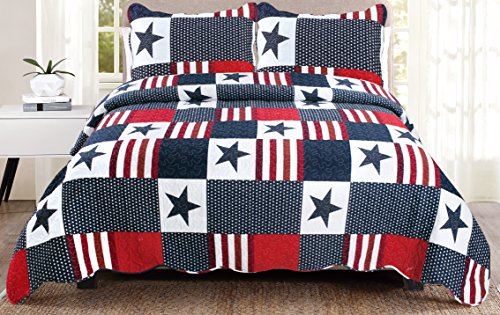 United Curtain Co Americana Quilt Set, King, Red, White and Blue