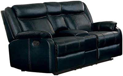 Jakes Double Glider Reclining Love Seat Console in Black Airehyde Leather