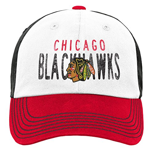 Outerstuff NHL NHL Chicago Blackhawks Youth Girls Retro Colorblock Structured Hat, Red, Youth One Size