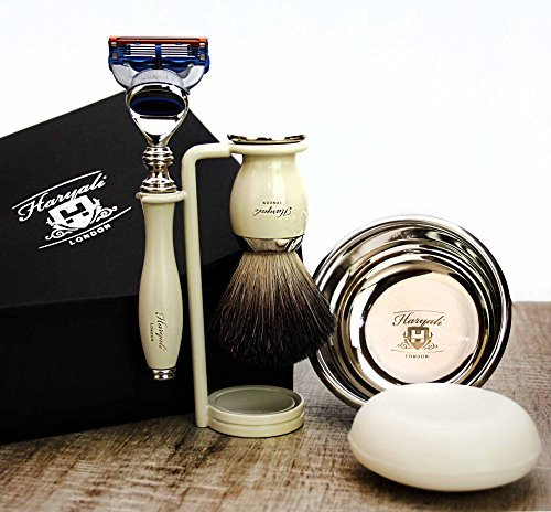 Complete Luxury Shaving Set featuring Pure Black Badger Brush, Gillette Fusion, Double Stand, Bowl & Soap. Gift for Him