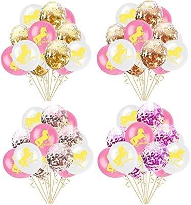TOPWINRR 60pcs Unicornio Rosa Blanca Dorado Confetti Globos Látex 12 Pulgadas Fiesta Cumpleaños Decoraciones Boda Navidad