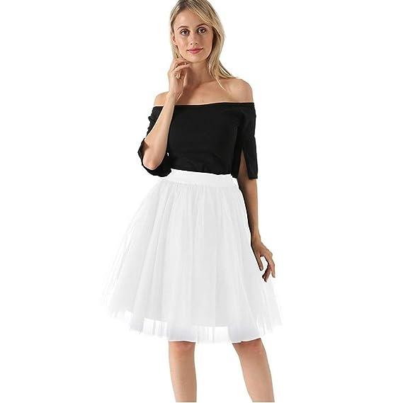 Haucalarm Falda plisada de tul, falda tutú de cinco capas para ...