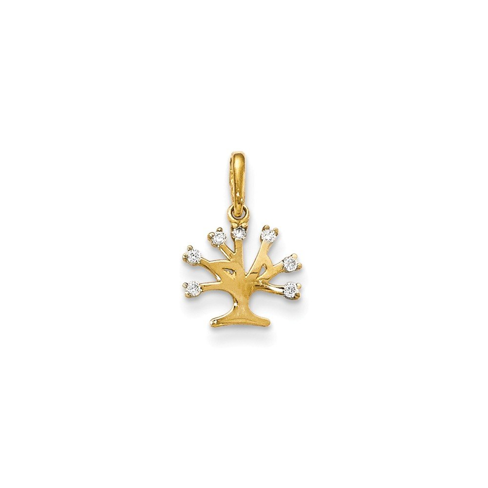 Mia Diamonds 14k Yellow Gold CZ Childrens Tree Pendant