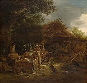 The polyster Canvas of oil painting 'Isack van Ostade A Farmyard ' ,size: 18 x 19 inch / 46 x 48 cm ,this Reproductions Art Decorative Canvas Prints is fit for Study decor and Home gallery art and Gifts