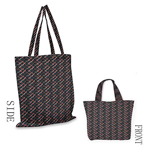 """(folding shopping bag AfricanGrunge Pattern Plaid Style with Bohemian Influences Native Artistic and Hipster Multicolor18""""W x 16""""H )"""