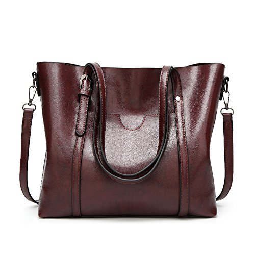 Majome Bolsos de hombro de mujer - Estuche de cuero de cera con diseño de gran capacidad vintage Oscuro Rojo