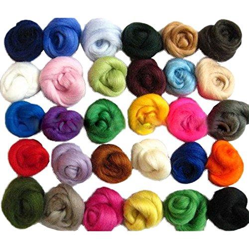 - Xigeapg 36 Colors Wool Fibre Roving for Needle Felting Hand Spinning DIY Fun Doll Needlework Raw Wool Felt Poke 5G/Bag
